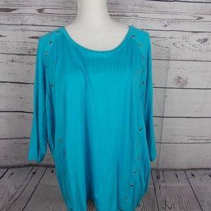 Michael Kors Sz XL Turquoise Top w/Grommet trim